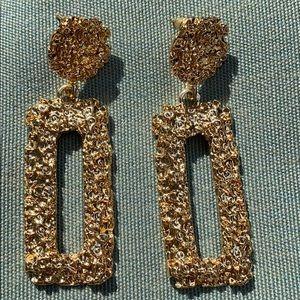 """Gold dangle 2.5"""" pierced earrings"""